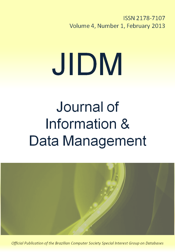 View Vol. 4 No. 1 (2013): Journal of Information and Data Management