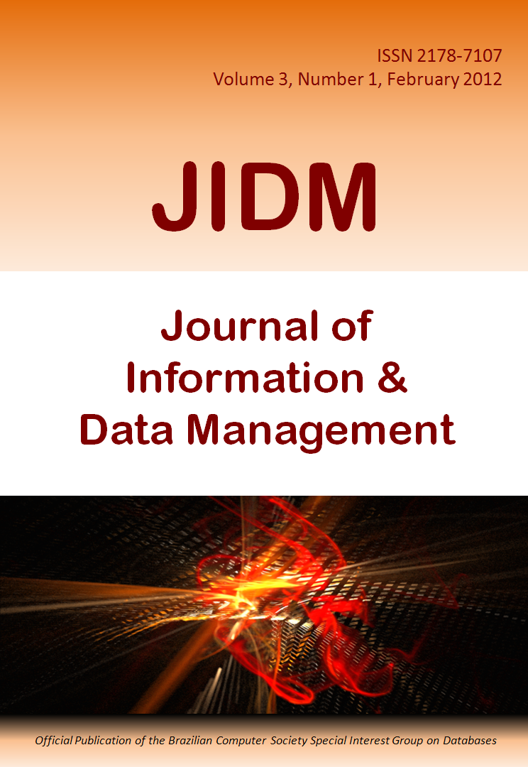 View Vol. 3 No. 1 (2012): Journal of Information and Data Management