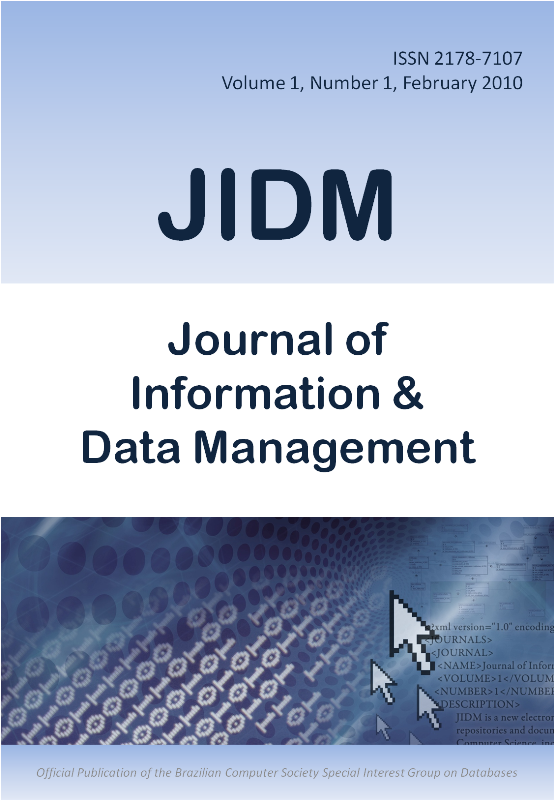 View Vol. 1 No. 1 (2010): Inaugural Issue of Journal of Information and Data Management